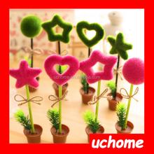 UCHOME cute green plant ball pen with pot stand