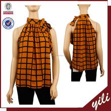 2016 new products sleeveless plaid print woman summer fashion cutting blouse