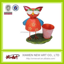 Hot selling new design metal mini flower pot with owl mini plants metal pot with various design owls China
