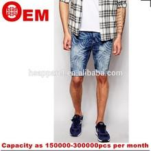 Nuevo estilo de moda azul oscuro corto para hombre medio denim pantalones de jean