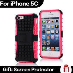 2 in 1 High Quality Armer Hybrid TPU Phone Case with Kickstand for iPhone 5C
