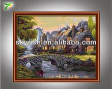 manuscrito de paisaje pintura al óleo para la decoración del hogar