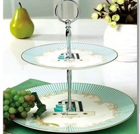 Hot Sale European Style Two-double Round Shape Ceramic Fruit Plate