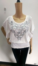 high quality ladies casual short sleeve bottom elastic blouse with sequin and stone design