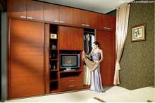 Sliding wood door mechanism wardrobe withTop Cabinets hand painted furniture bedroom