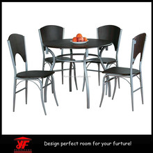 stainless steel table 4 chairs set wooden dining table with wood top designs
