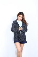 Women's long sleeves V neck cardigan Sweater