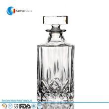 venta al por mayor de lujo hechos a mano vacía 750ml claro whisky vino de la botella de vidrio