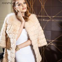 wholesale icream-color natural rabbit fur coat fox collar coat for women