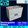 high efficiency 12v 75ah charge car battery