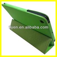 For ipad mini 2 trifolding pu leather green case,Smart leather case for ipad mini 2,for new ipad mini 2