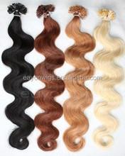 hot sale wholesale pre-bonded hair extension cheap virgin brazilian body wave hair v tip hair extensions