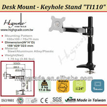 Keyhole base one articulating Arm LCD Monitor Desk mount Stand