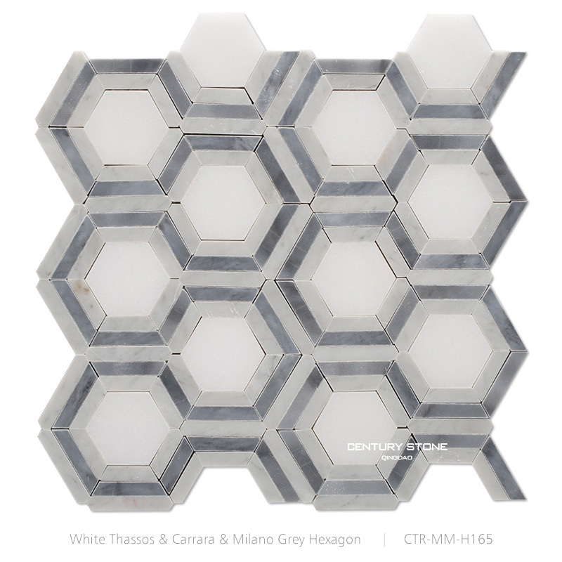 Nouveau Design blanc Carrara mixte gris hexagone motif mosaïque de ...