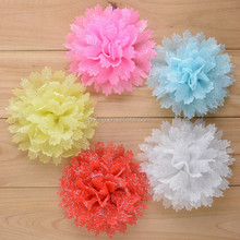 2015 Chiffon flowers with glitter-,shabby chiffon trimming,chiffon glitter flower wholesale Fabric flower in stock