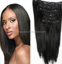 5A Grade Best Selling Indian Virgin Hair Extension With Clips Natural Straight Hunan Hair