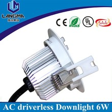 European 230v dimmable 6W LED Downlight COB Round, downlight led 80mm