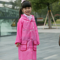 High quality cute pink rain kids poncho with logo