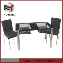 classic double layers glass dining table sets