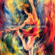Handpaint beautiful woman dancing girl oil painting