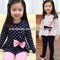Mais recente 2014 recém estilo borboleta puro algodão dot terno de meninas, meninas vestuário, roupa infantil, terno infantil