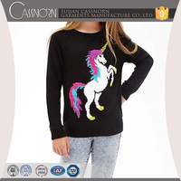 fashionable colorful jacquard unicorn pattern pullover sweater designs for girls