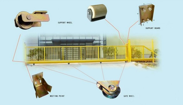 Sliding Gate Hardware Kit Wheels Rail Gate Keeper Roller