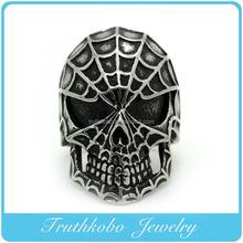 Top Quality Stately Stainless Steel Filigree Sugar Skull Ring with Black Enamel Bow Design For Men TKB-R069