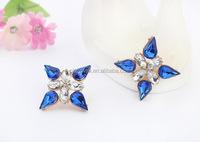 E1308FREE SHIPPING Wedding Earrings Bright Colorful Earrings Rhinestone Earrings Beautiful Stud Earrings For Lady Gold Jewelry