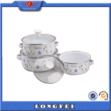 Easy clean and health 3 pcs enamel cast iron pot with enamel or glass lid