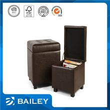 Customizable Furniture Storage Leather Seat Pads With Wooden Legs