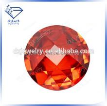 Brilliant cut precious shining round synthetic orange red 55# corundum gems