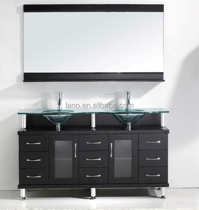 56 Inch Modern Free Standing Double Sink Bathroom Vanity In Espresso Finish With Tempered Glass