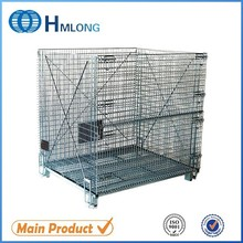 Warehouse metal folding wire mesh cages