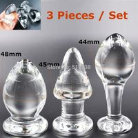 3 models big large Pyrex Glass anal butt plugs beads Adult male female masturbation products Sex toys set for women men gay