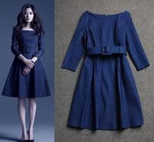 Jeon Autumn Slim round neck strap eighth sleeve denim dress