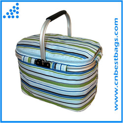 2015 Insulated Picnic Basket outdoor Thermo picnic cooler basket with Aluminum Frame