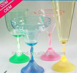 transparent color promotional plastic Flashing Led Goblet or cup