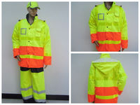 EN471 yellow and orange Men's cheap waterproof and windproof safety work jacket reflective tape
