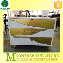 MNS-1130 Top Quality Five Star Hotel White Lacquer Golden Leaf Modern Luxury Night Stand
