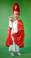 red velour Nicholas carnival funny costume for kids
