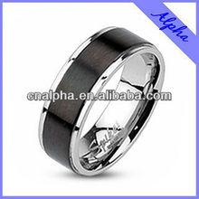 fashion stainless steel matt brushed black headband ring