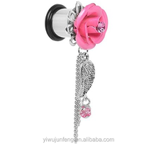Pink Gem Rose Angel Wing Dangle Ear Plug body piercing jewelry wholesale China