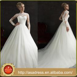 AMS36 HandMade V-back Long Sleeve Muslim Bridal Gown with Long Train High Neck Love Wedding Dress