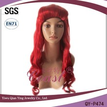 Cheap long red fashion beauty curly Poison Ivy synthetic party wig