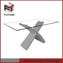 white home furnitures dining eating table with cross leg