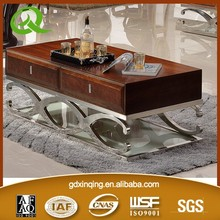 C359 modern design wood coffee table with stainless steel leg