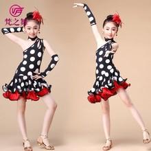 Competition one-strap unique design children latin dancing costume dress with size S M L XL ET-079