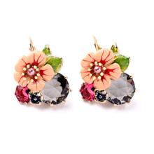 New fashion design jewelry Rhinestone ear drop Enamel alloy flower shaped huggie earrings