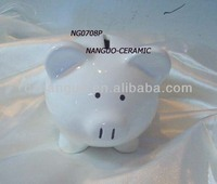 Ceramic money box white piggy bank
